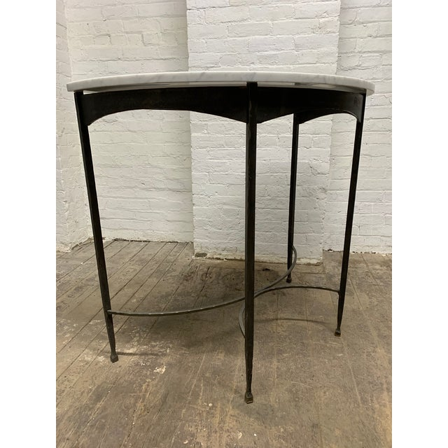 Metal Pair French Wrought Iron and Carrara Marble-Top Demilune Tables For Sale - Image 7 of 8