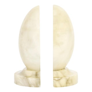 Mid-Century Italian Alabaster Egg-Shape Bookends, a Pair For Sale