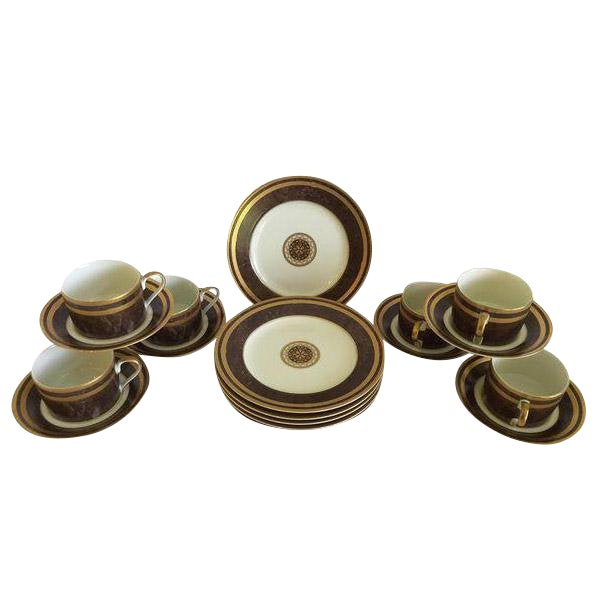 Mahogany Florentine Luncheon or Dessert China Set - 18 Pieces For Sale