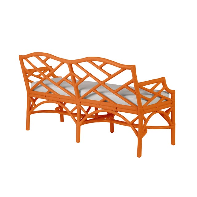 Classic silhouettes are transformed into luxury with this Chinoiserie styled bench. Festuring a Rattan frame, rawhide-...