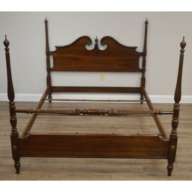 Wood Ethan Allen Georgian Court Solid Cherry Queen Poster Bed For Sale - Image 7 of 13