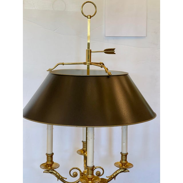 Large Paul Ferrante French Gilt Bronze Four Light Bouillotte Griffin Table Lamp