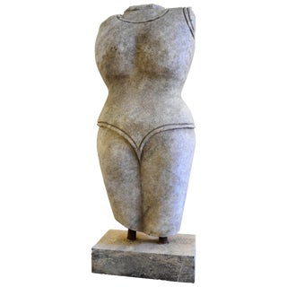 Indian Style Marble Torso Sculpture For Sale