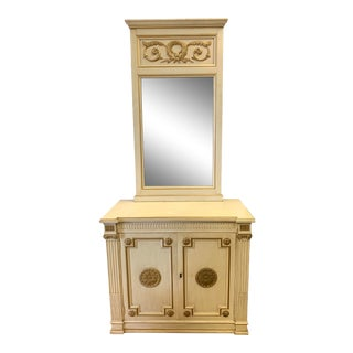 Vintage 2 Pc. Henredon Cabinet With Hanging Mirror For Sale