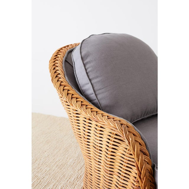 Wicker Michael Taylor Style Wicker Chaise Lounge For Sale - Image 7 of 13
