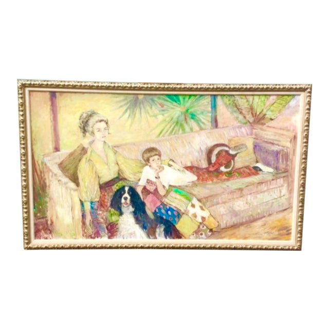 Oil Portrait of Mother and Son by Ouida George For Sale