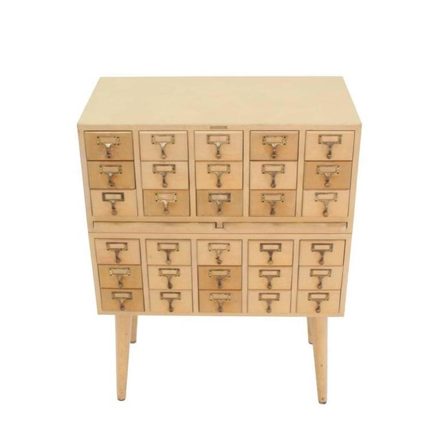 Mid-Century Modern Multi Drawer Vintage All Solid Wood Index Card File Cabinet For Sale - Image 3 of 9
