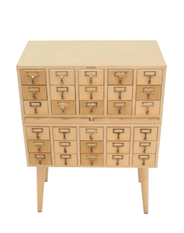 Mid Century Modern Multi Drawer Vintage All Solid Wood Index Card File  Cabinet For Sale
