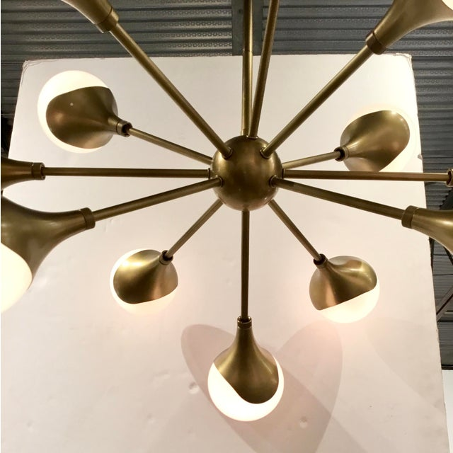 Mid-Century Modern Arteriors Mid-Century Modern Inspired Antique Brass Finished Augustus Chandelier For Sale - Image 3 of 6