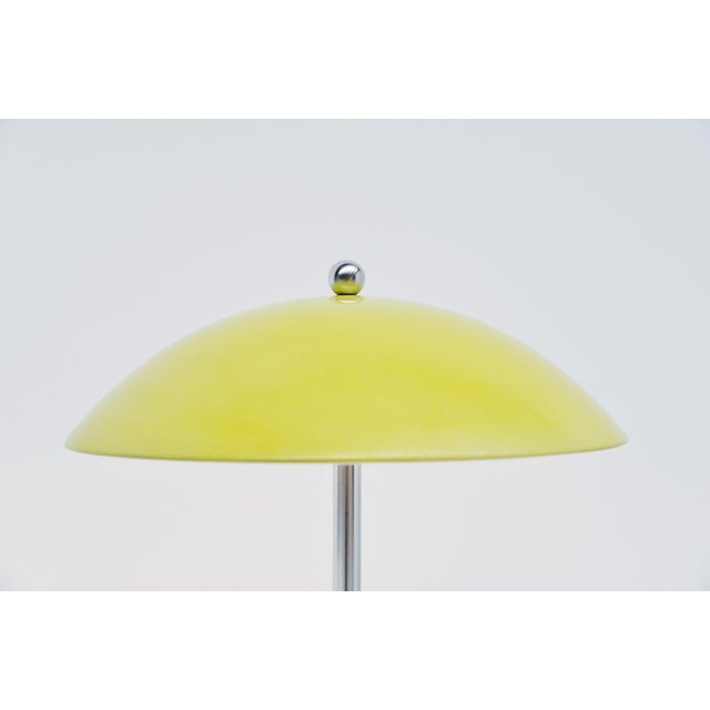 Very nice mushroom shaped yellow table lamp model 5015 designed by Wim Rietveld and manufactured by Gispen Culemborg,...