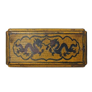 Chinese Distressed Yellow Lacquer Chinoiserie Rectangular Shape Treasure Box For Sale