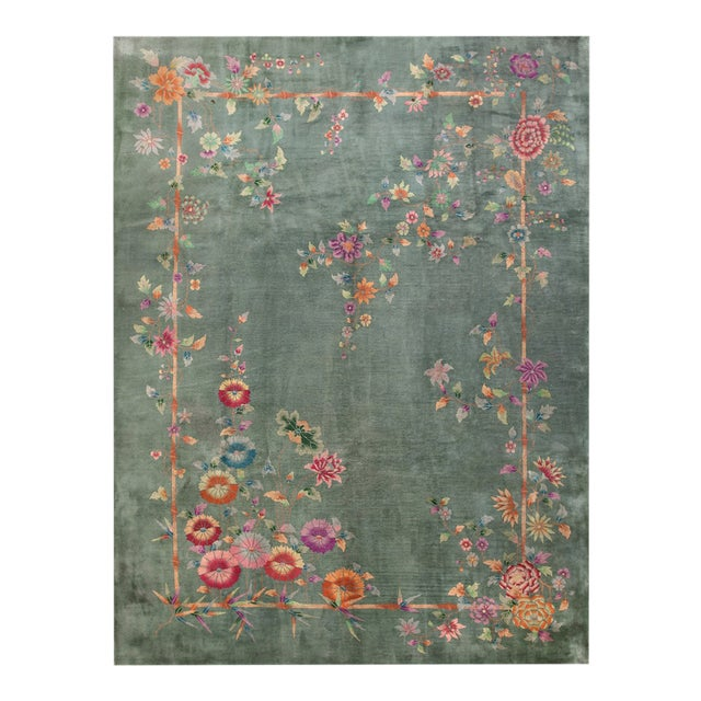 "Antique Chinese Art Deco Rug 8'10"" X 11'8"" For Sale"