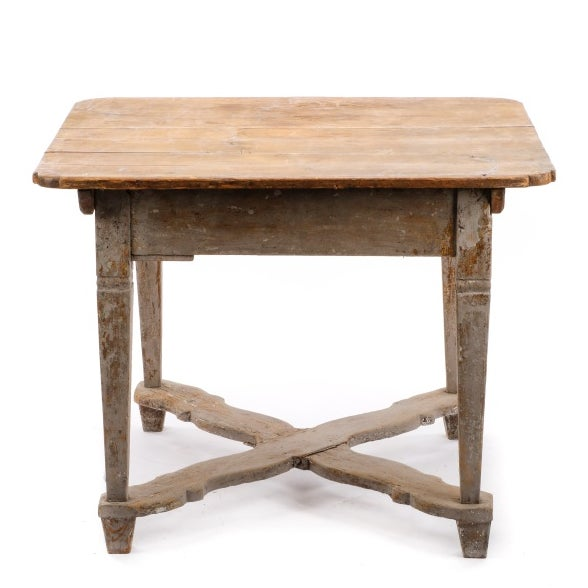 19th Century Gustavian Table With Marble Top and 18th Century Gustavian Farm Table - Image 9 of 10