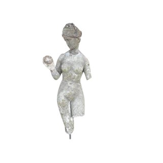 French Cement Garden Sculpture of Woman With Apple on Iron Base