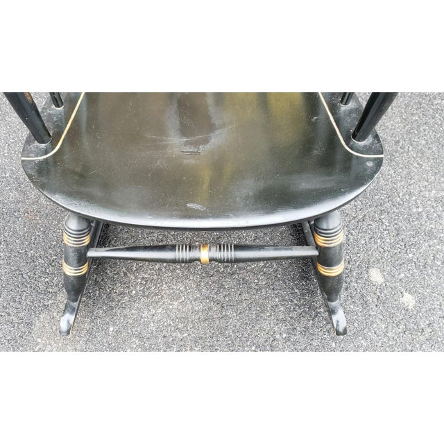 Metal Vintage 1970s Black Hitchcock Style Painted Nichols & Stone Co. Rocking Chair Rocker For Sale - Image 7 of 11
