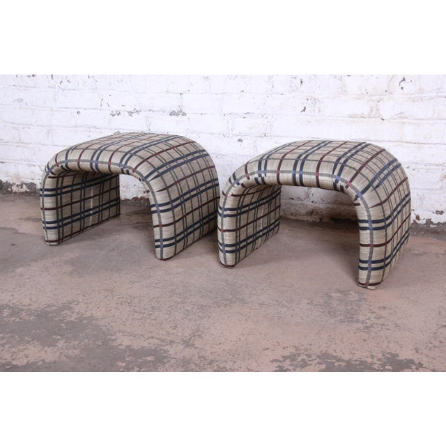 Leon Rosen for Pace Collection Mid-Century Modern Waterfall Stools or Ottomans, Pair For Sale - Image 10 of 10