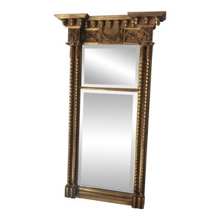 Carver's Guild Neoclassical Gold Leaf Mirror For Sale