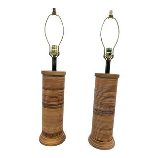 Late 20th Century Vintage Split Reed Rattan Table Lamp Set - a Pair For Sale