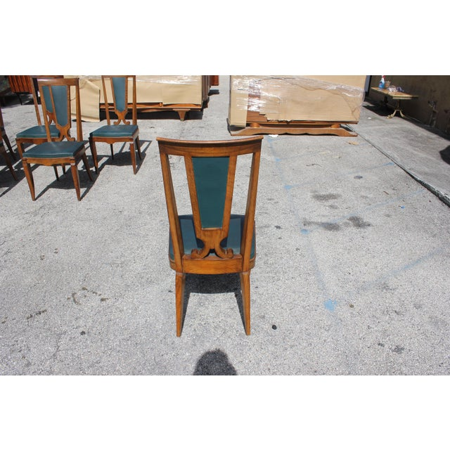 1940s French Art Deco Solid Mahogany Dining Chairs by Jules Leleu - Set of 6 For Sale - Image 10 of 13