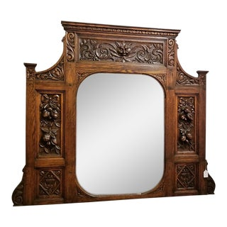 19c French Provincial Oak Heavily Carved Overmantel Mirror