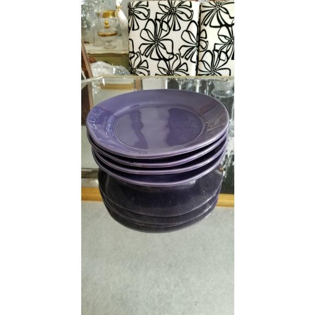 Italian Italian Artisan Made Aubergine Plates - Set 4 For Sale - Image 3 of 9