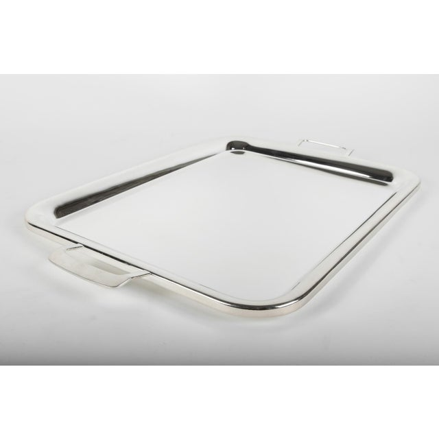 1920s Large Vintage English Plated Serving Tray / Barware For Sale - Image 5 of 5