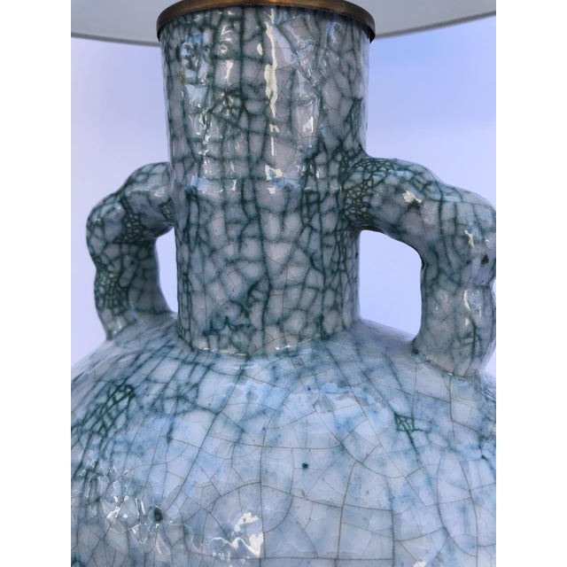Mid-Century Modern Pair of Crackle Glazed Ceramic Table Lamps For Sale - Image 3 of 4