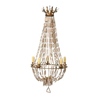 Italian Wooden Bead & Steel Chandelier