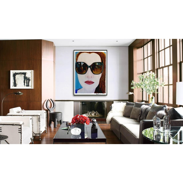 """Blue """"Portrait of Claire"""" Painting by Geoff Greene For Sale - Image 8 of 11"""