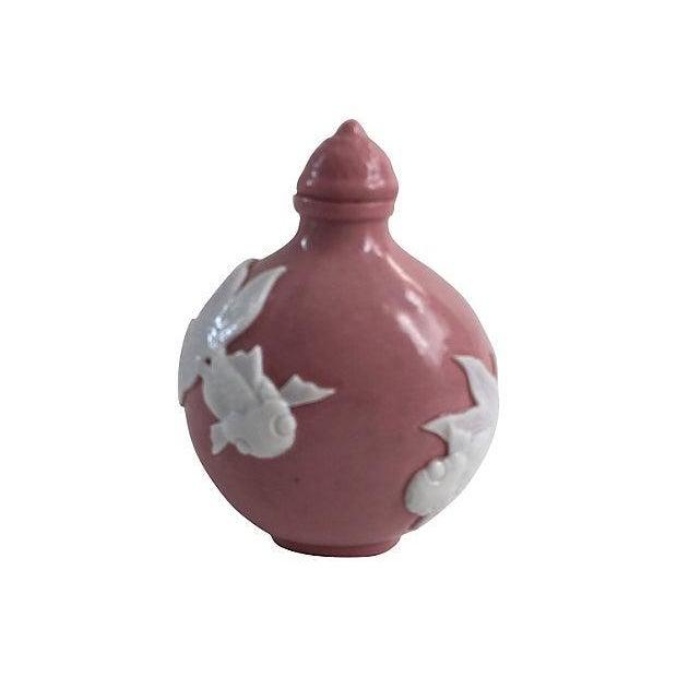Chinese Pink Porcelain Koi Fish Bottle - Image 4 of 5