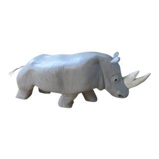Contemporary Gray Metal Rhinoceros Statue