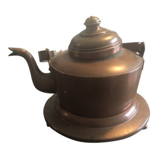 Vintage Rustic Copper Kettle For Sale