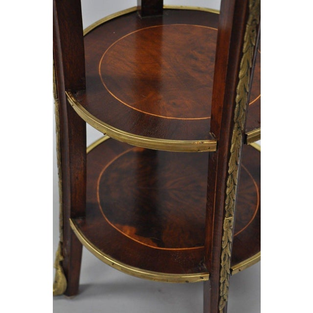 French Regency Neoclassical Style Bronze Rams Head Round Inlaid Pedestal Table For Sale In Philadelphia - Image 6 of 12