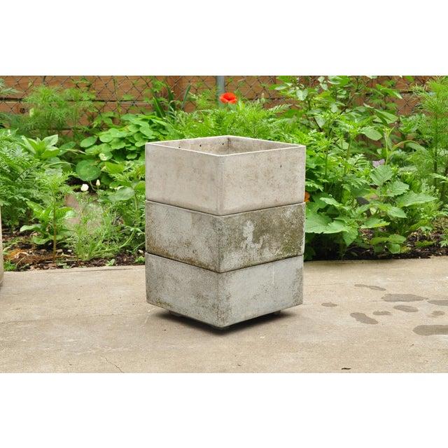 Priced per item. Right angle fiber concrete planters by Eternit, Switzerland. Measurements: Medium Planter: H 7 in. x W...