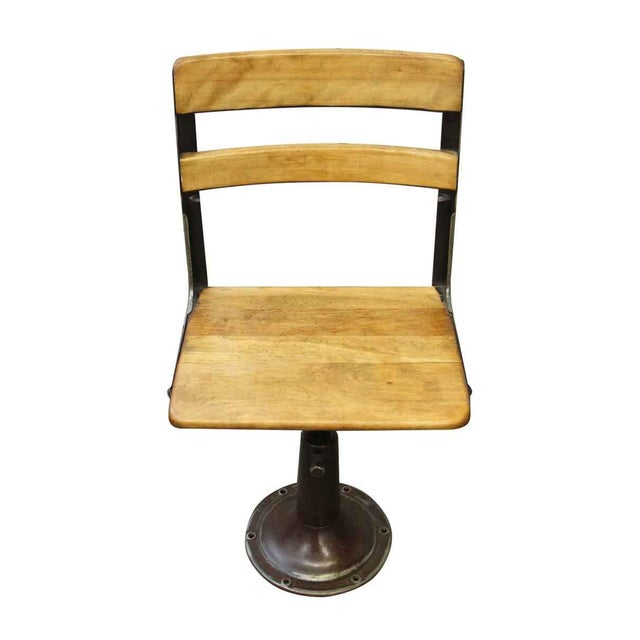 Mid-Century Modern Heywood Wakefield Stool With Iron Base For Sale - Image 3 of 10