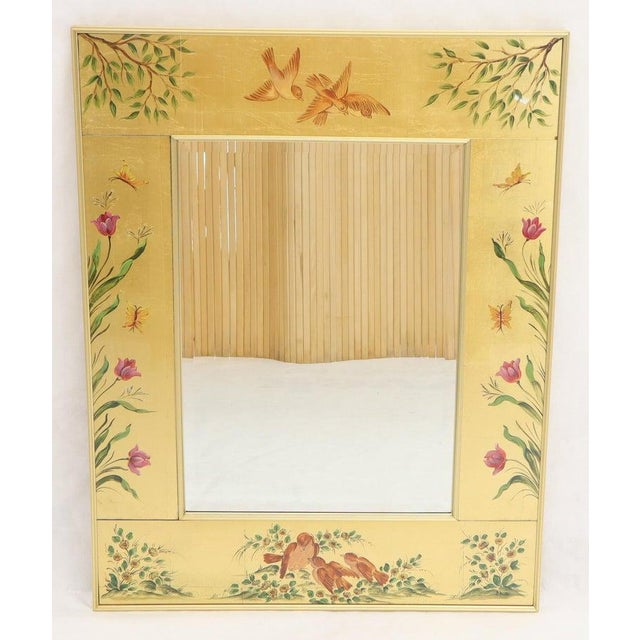 Reverse Painted Gold Leaf Rectangular Frame Decorative Mirro For Sale - Image 6 of 13