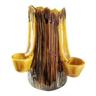 Mid 19th Century English Rockingham Glaze Pottery Tree Stump Form Planter For Sale