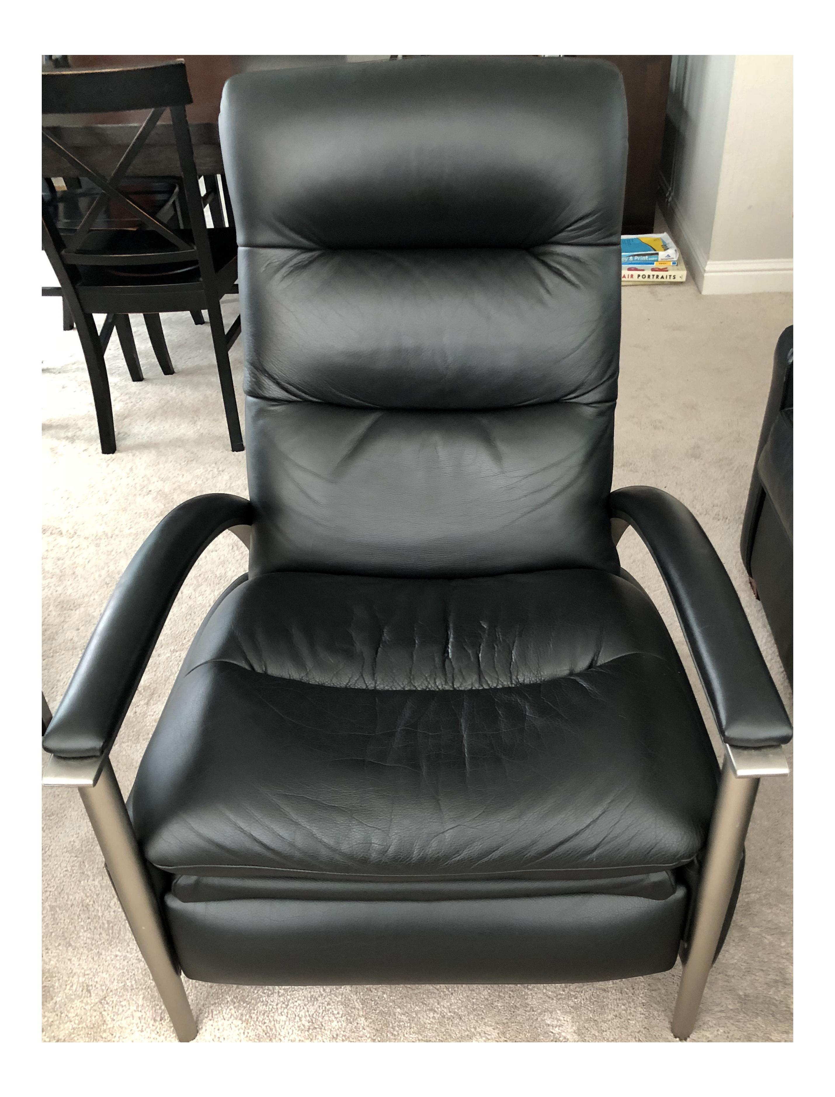 Miraculous Ethan Allen Genuine Black Leather Radius Recliner Short Links Chair Design For Home Short Linksinfo