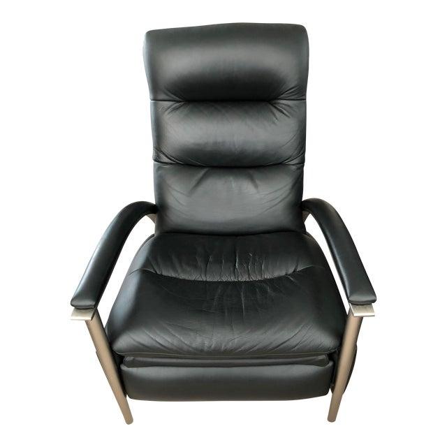 Ethan Allen Genuine Black Leather Radius Recliner For Sale