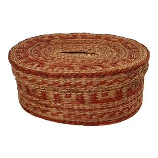 Vintage Woven Sweetgrass Basket Box For Sale