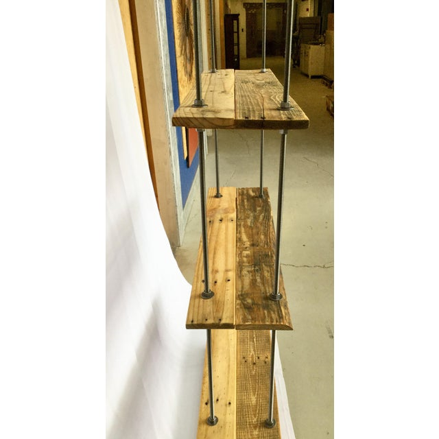 Brown Bauhaus Tall Recycled Wood and Metal Rod Adjustable Bookcase Shelf For Sale - Image 8 of 13