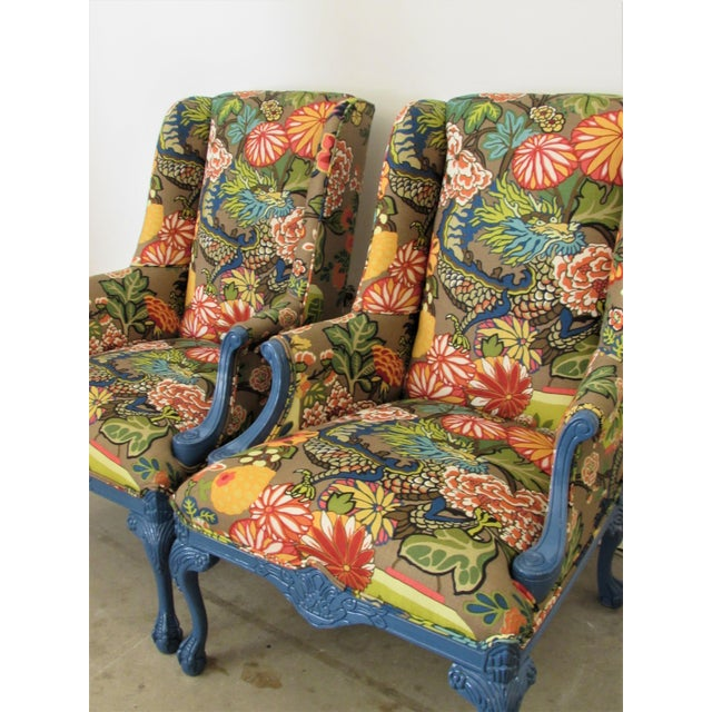 Pair of English Lacquered Georgian Style Gainsborough Armchairs For Sale - Image 9 of 11