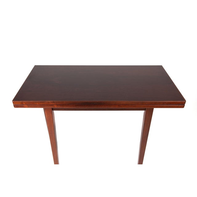 Mid-Century Modern Danish Modern Illums Bolighus Rosewood and Blue Tile Folding Table For Sale - Image 3 of 7