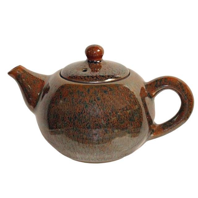Chinese Handmade Jianye Clay Bronze Brown Glaze Decor Teapot For Sale
