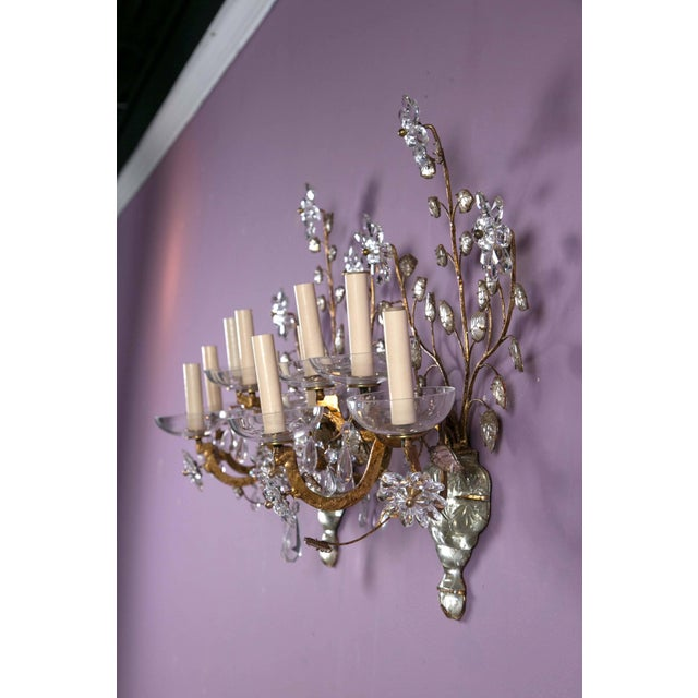 1930s French Crystal Flower Gilt Sconces - a Pair For Sale - Image 9 of 10