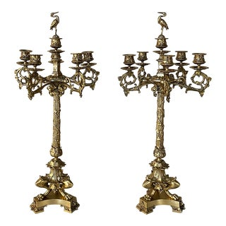 19th Century French Empire Bronze Candelabra - a Pair For Sale