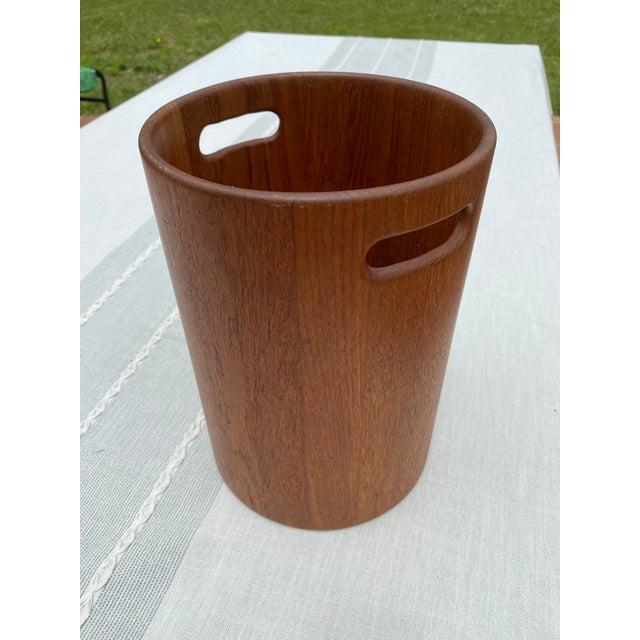 Danish Mid Century Modern Teak Wastebasket For Sale - Image 9 of 9