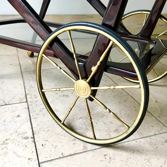 Italian Walnut and Brass Framed Two Tiered Barcart 1960s For Sale - Image 6 of 8
