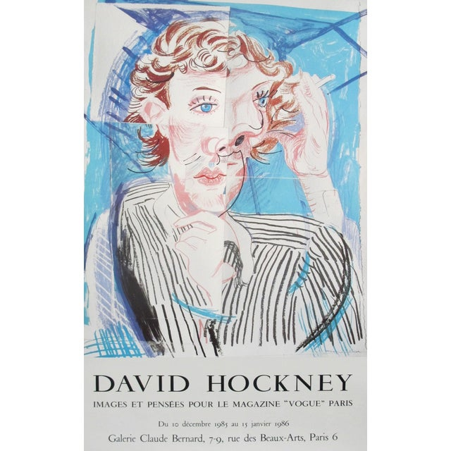 1985 Original French Exhibition Poster - Galerie Claude Bernard, David Hockney For Sale