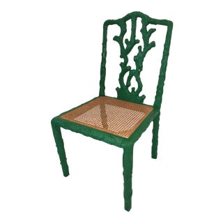 20th Century Boho Chic Green Caned Tree Accent Chair For Sale